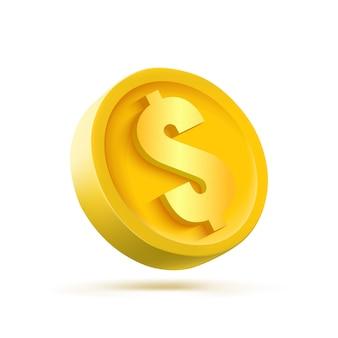 3d золотая монета, изолированные на белом фоне