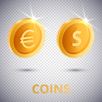 3d gold coins dollar and euro
