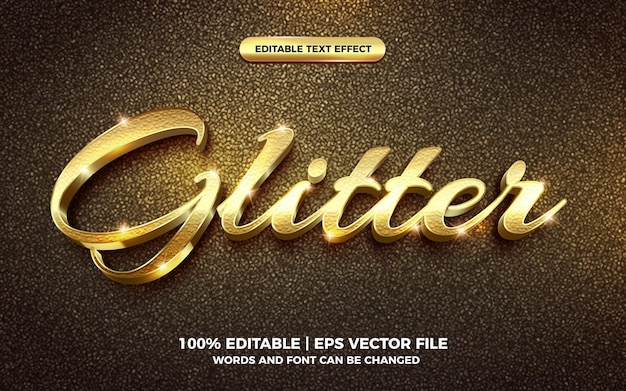 3d gold glitter text style effect template editable