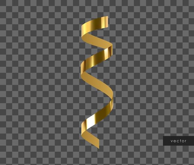 3d золотой глянцевый реалистичный серпантин.