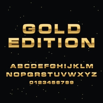 3d gold lettering alphabet premium vector