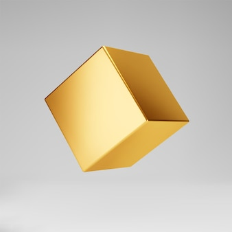 3d gold metallic cube isolated on grey background. render a rotating glossy golden 3d box model in perspective with lighting and shadow. realistic vector geometric shape.