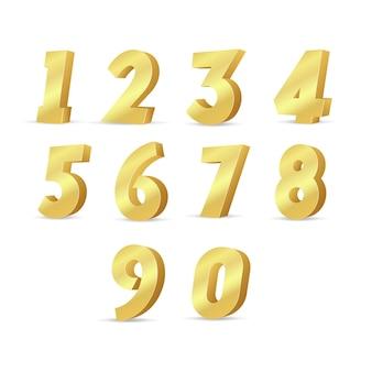 3d 골드 번호 세트. 벡터 금속 번호.