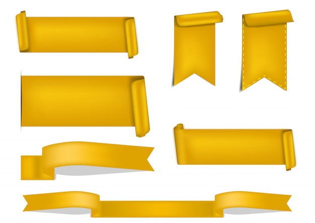 3d gold ribbon shadow for award on white background