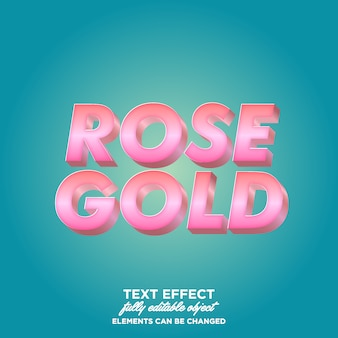3d gold rose gradient  text style