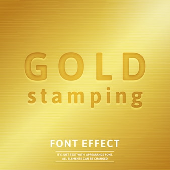 3d gold stamping font effect with realistic golden metal fill