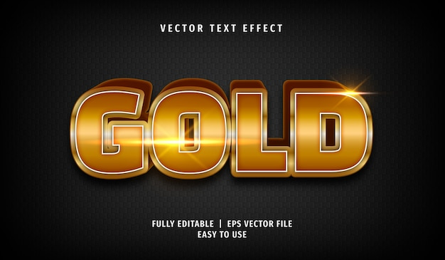3d gold text effect, editable text style