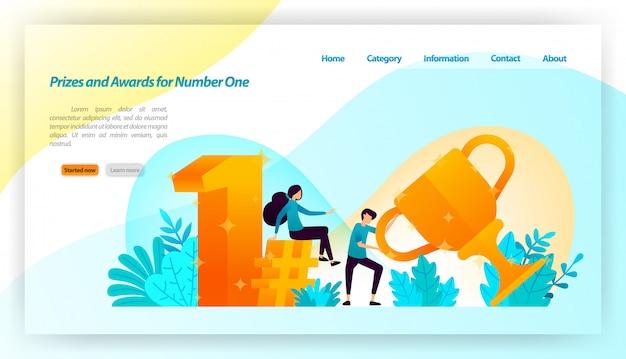 Люди получили призы и награды за номер один в стиле 3d gold с трофеями, во-первых, хэштегом. веб-шаблон целевой страницы