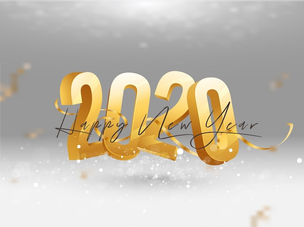 3d golden 2020 with confetti ribbon greeting card