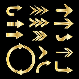 3d黄金の矢印は無料ベクトルを設定します