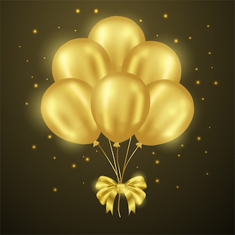 3d golden balloon party shiny with ribbon