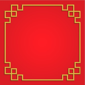 3d golden chinese frame on red background, vector border card china style