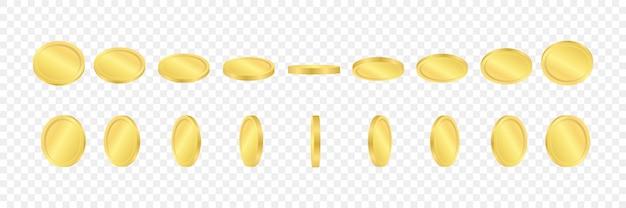 3d золотые монеты на прозрачном фоне. монеты в разных позициях. иллюстрации.