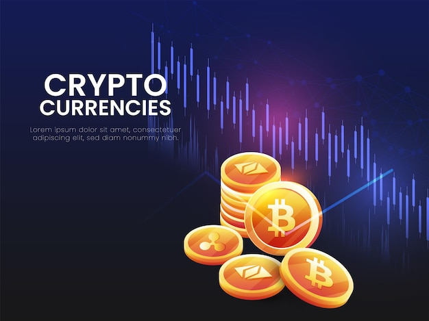 3d golden crypto currencies on blue and black digital lines background.