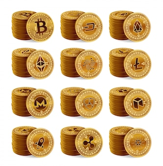 3d golden cryptocurrency physical coins stack set. bitcoin, ripple, ethereum, litecoin, monero and other.