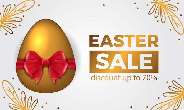 3d golden egg with red ribbon for easter sale offer banner