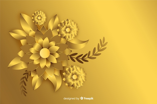 3d golden flowers background