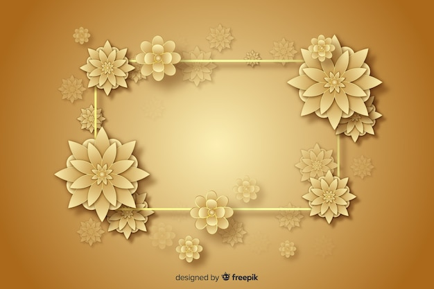 3d golden flowers decorative background