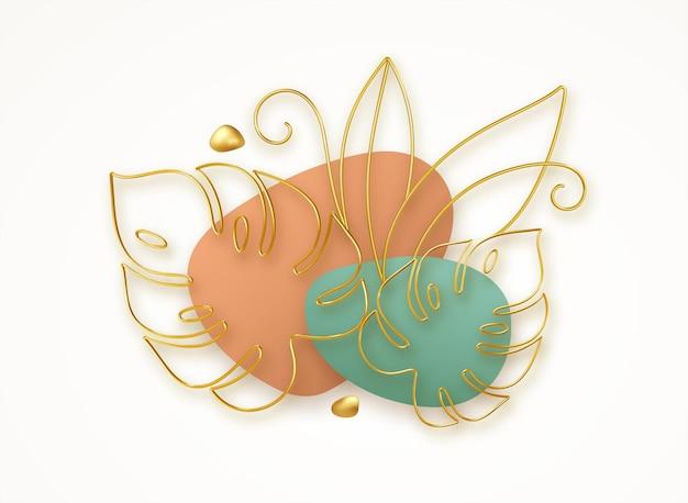 3d golden line art monstera leaves