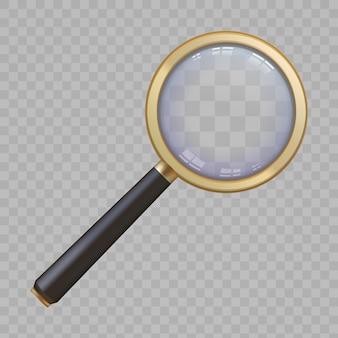 ハンドルとレンズズームビューを備えた3dゴールデン拡大鏡。リアルな拡大鏡ルーペ。拡大ツールのベクトルの概念を使用して検索または分析します。調査、詳細の調査、または調査の実施