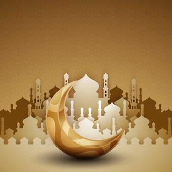 3d golden mosque silhouette with crescent moon.