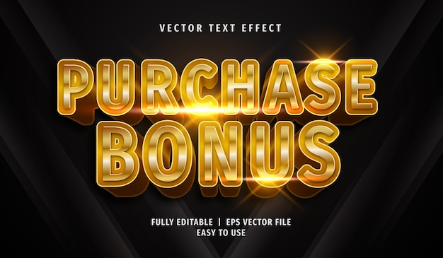 3d golden purchase bonus text effect, editable text style