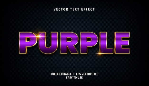 3d golden purple text effect, editable text style Premium Vector