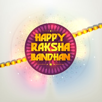3d golden raksha bandhan text design written on beautiful rakhi, indian festival of brother and sister celebration background.