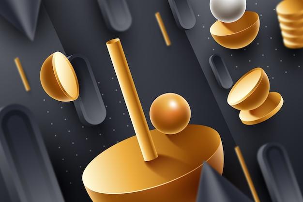 3d golden shapes background