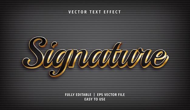 3d 황금 서명 텍스트 효과, 편집 가능한 텍스트 스타일