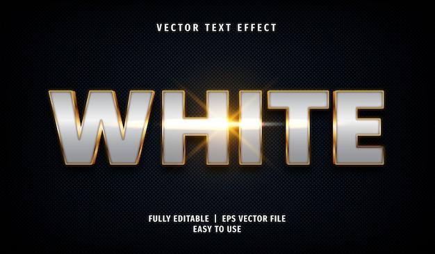 3d 황금 흰색 텍스트 효과, 편집 가능한 텍스트 스타일 프리미엄 벡터