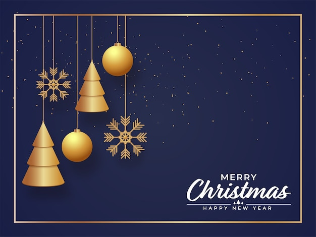 3d golden xmas trees with hanging baubles