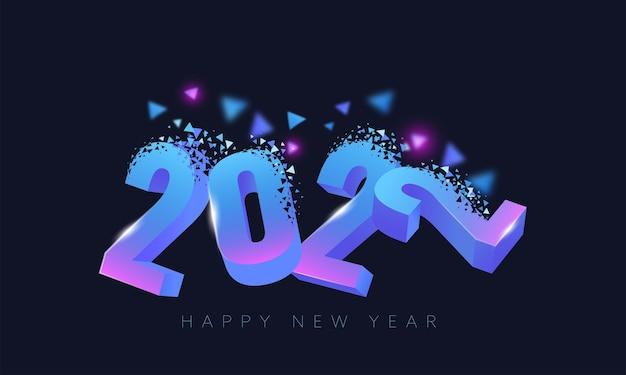 새해 복 많이 받으세요 축하를위한 파란색 배경에 3d 그라디언트 분산 효과 2022 번호.