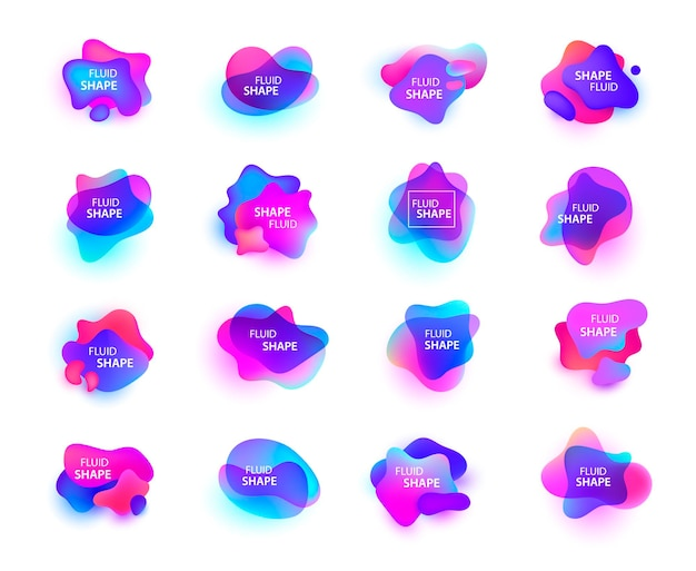 3d gradient spots set isolated. abstract elements for trendy vibrant color design.