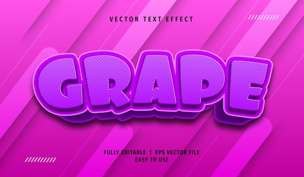 3d grape text effect, editable text style