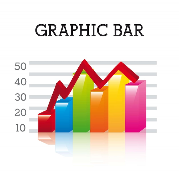 3d graphic bar over white background vector illustration
