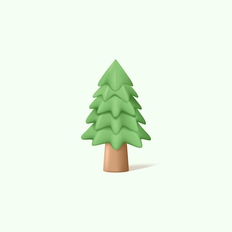 3d graphic of pine tree with pastel color illustration