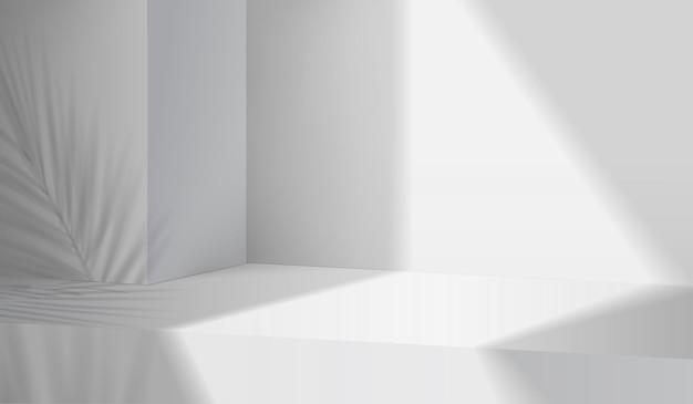 3d 회색 배경 제품 디스플레이 연단 장면에는 잎 형상 플랫폼이 있습니다. 회색 배경 벡터 연단과 3d 렌더링입니다. 화장품을 보여주는 스탠드. 받침대 디스플레이 흰색의 무대 쇼케이스