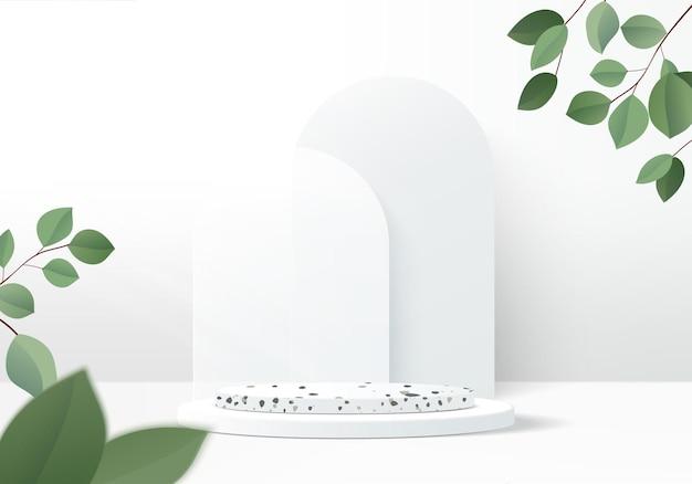 3d gray background product display podium scene with leaf geometric platform