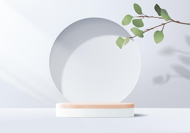 3d gray background product display podium scene with leaf geometric platform.