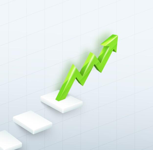 3d зеленая стрелка график с шагами вверх на белом