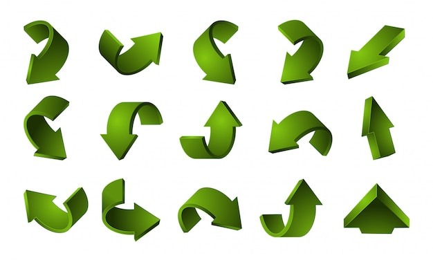 3d green arrows set. recycling arrows isolated on white background