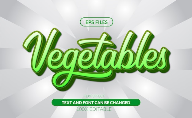 3d green color vegetable editable script font and text effect for nature, vegan,