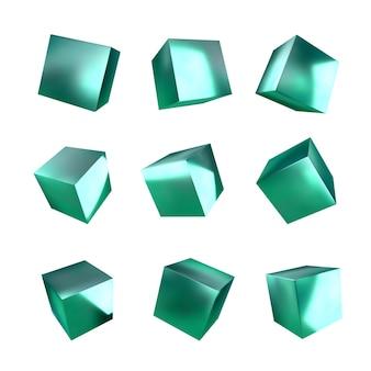 3d зеленые кубики. металлическая текстура.