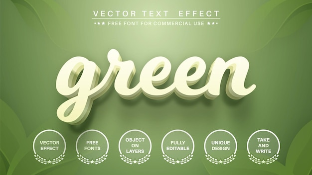 3d green editable text effect  font style