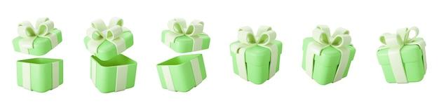 3d緑のギフトボックスは、白い背景で隔離のパステルリボンの弓で開閉セット。 3dレンダリングは、現代の休日のサプライズボックスを飛んでいます。誕生日や結婚式のバナーの現実的なベクトルアイコン