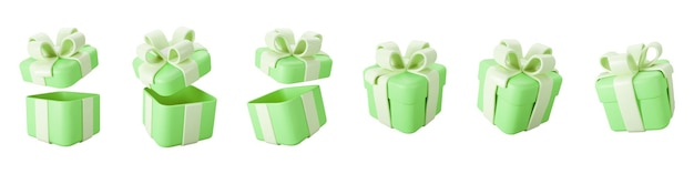 3d green gift boxes open and closed set with pastel ribbon bow isolated on a white background. 3d render flying modern holiday surprise box. realistic vector icon for birthday or wedding banners