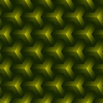 3 dグリーンy形状パターン背景。
