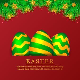 부활절을위한 빨간 배경 가진 3d 녹색 노란 계란