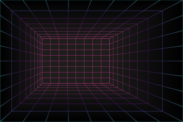 テクノロジースタイルの3dグリッドパースペクティブレーザールーム。バーチャルリアリティトンネルまたはワームホール。抽象的な蒸気波の背景